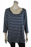 Wholesale Womens Ex Chainstore T-Shirt Top 3/4 Sleeve Navy White Stripes Plus Size